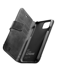 Cellularline - Supreme Leather iPhone 12/12 Pro - Zwart